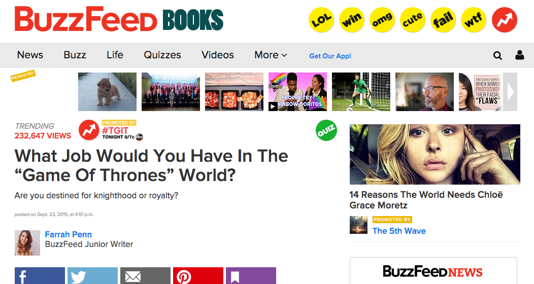 BuzzFeed Game of Thrones Article Headline - Viral Word of Mouth Marketing