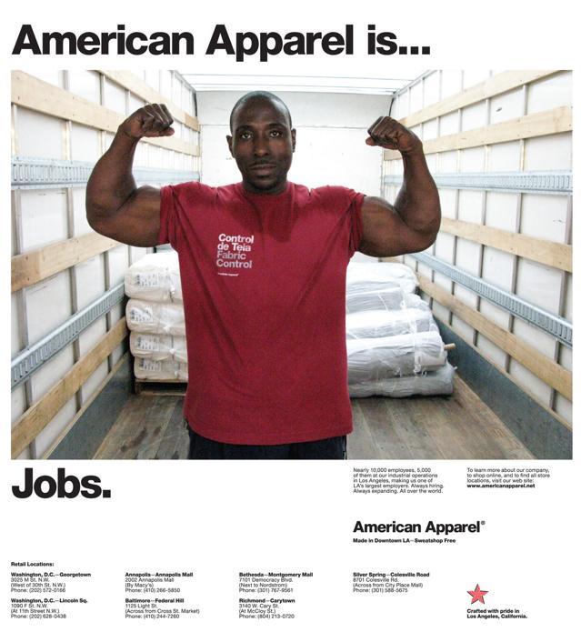 American Apparel Jobs Ad Muscle Man - Viral Offline Advertising