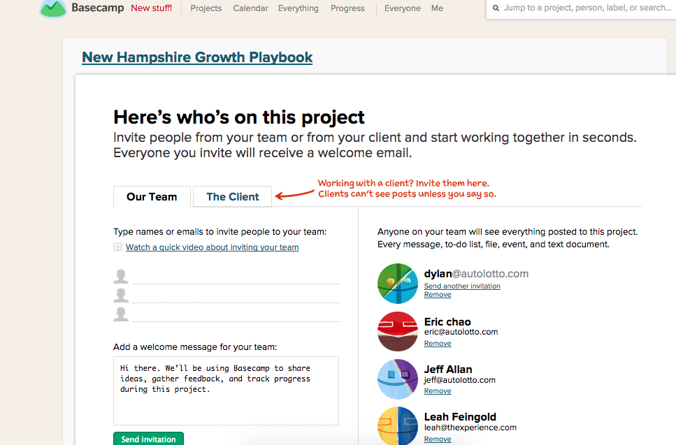 Basecamp Project Roles Invite - Viral Media Marketing