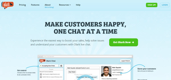 Olark Chat Tool Homepage - Viral Infection