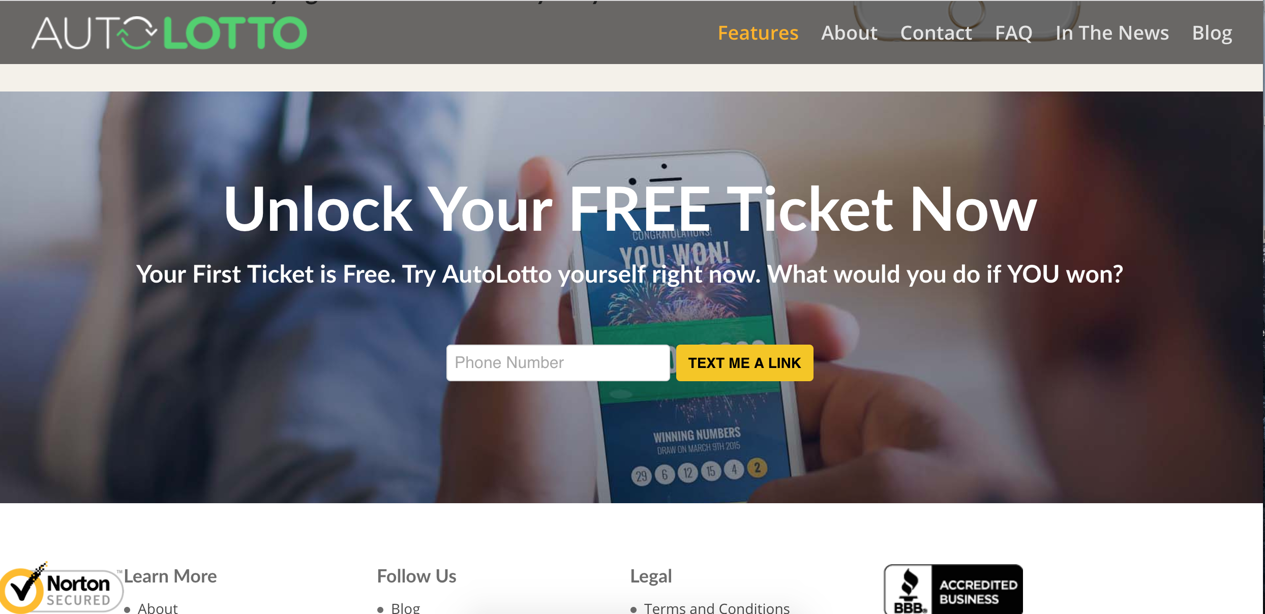 AutoLotto Homepage - Viral Marketing Structure
