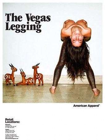 American Apparel Vegas Legging Ad Topless Girl - Viral Offline Advertising