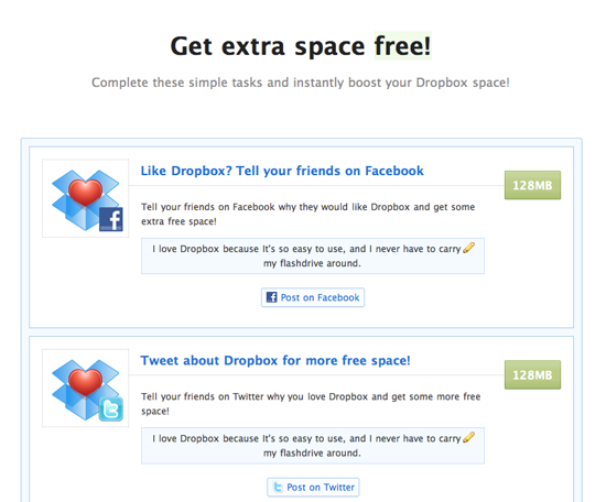 Dropbox Get Extra Space - Viral Incentive Marketing